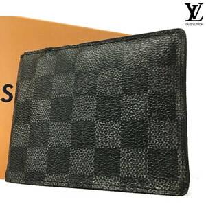 ◆【極美品!!】ルイヴィトン Louis Vuitton ダミエ グラフィット フロリン 二つ折り財布 メンズ 長財布 レディース ブラック 黒 N63074◆