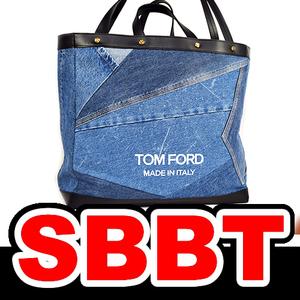 ●【SBBT】 TOM FORD トムフォード パッチワークデニム Tスクリュートート ブルー×黒 デニムトート バッグ 本物 新品 未使用