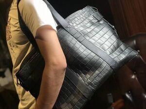 ナイルクロコダイル ワニ革 本革 腹部革センター ハンドバッグ ボストンバッグ ショルダーバッグ 2way 紳士鞄 メンズバッグ 旅行 大容量