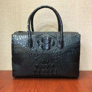 人気商品 ワニ革 クロコダイル 紳士鞄 本革 背革 書類かばん ビジネスバック ハンドバッグ 大容量 ブリーフケース 出張 ブラック メンズ