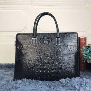 人気商品 ワニ革 クロコダイル 紳士鞄 本革 背革 書類かばん ビジネスバック ハンドバッグ ブリーフケース パースワードロック付き メンズ