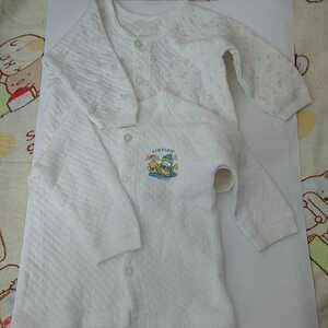 ベビー服 肌着 長袖 2枚セットで 白 動物柄