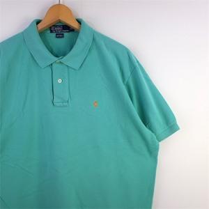 メンズUS-XLサイズ ポロラルフローレン Polo by Ralph Lauren 半袖鹿の子ポロシャツ パステルライトグリーン系 ワンポイント 無地 sh-2994
