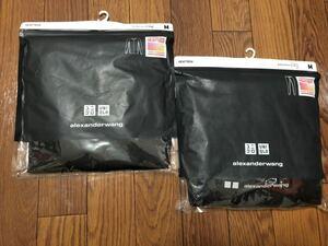 ユニクロヒートテック Alexander wang Mサイズ リブクルーネックT (長袖)エクストラウォームタイツ未使用品  MEN ブラック 上下セット