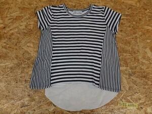 <送料280円>BEAMS ビームス レディース ボーダー切替 レイヤードTシャツ ネイビー×ホワイト ONE