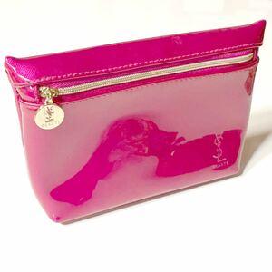 希少品 【 YSL 】 メイクポーチ コスメポーチ pink ピンク 化粧ポーチ イヴサンローラン beaute ノベルティ レア