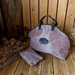 伊イタリア製ボルボネーゼBORBONESE本革レザー×ナイロン*ボストンバッグ*ハンドバック*ポーチ付*うずら柄レディース婦人*トラベル*旅行鞄