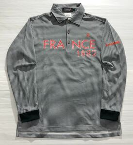 《le coq sportif GOLF ルコックゴルフ》ホワイトライン ロゴ刺繍 ビッグFRANCE 1882プリント チェック柄 長袖 ポロシャツ L