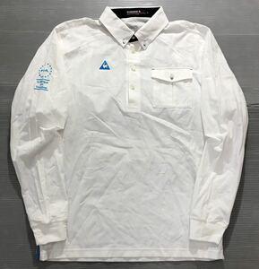 《le coq sportif GOLF ルコックゴルフ》ロゴ刺繍 ストライプ織り柄 ボタンダウン 長袖 シャツ ホワイト M
