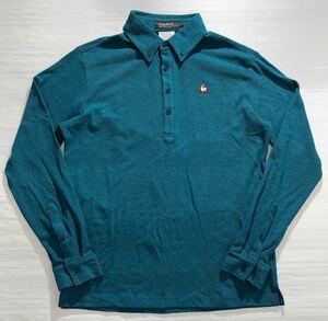 《le coq sportif GOLF ルコックゴルフ》ホワイトライン ロゴ刺繍 ボタンダウン 長袖 ポロシャツ ブルーグリーン LL