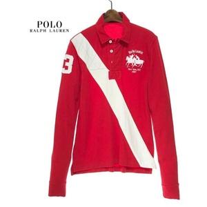 国内正規品 POLO RALPH LAUREN ポロ ラルフローレン 長袖 ポロシャツ ダブルポニー ロゴ刺繍 赤 メンズ L サイズ トップス シャツ