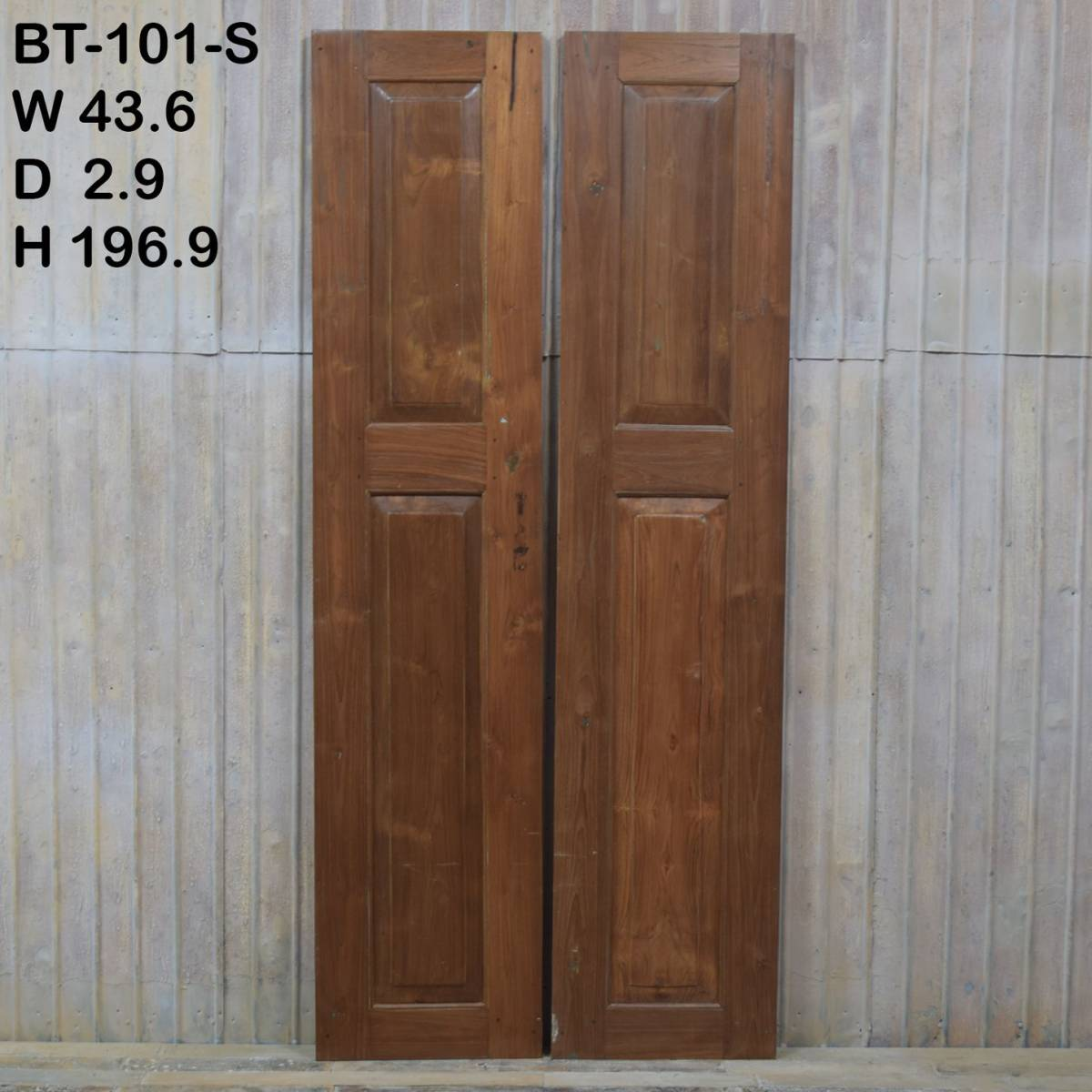 S-101〈即決〉W87×H197 ドアノブ外し穴修復済み 観音開きアンティークドア 2枚組 店舗リノベーション 扉 古い洋館の木製建具 ftg