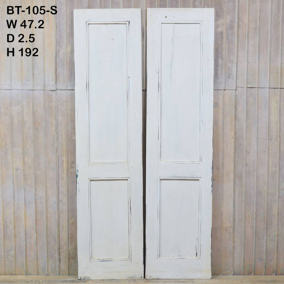 S-105〈即決〉W94×H192 ドアノブ外し穴修復済み 観音開きアンティークドア 2枚組 店舗リノベーション 扉 古い洋館の木製建具 ftg