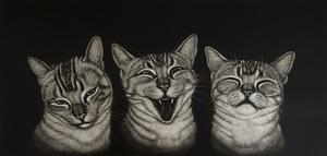 生田宏司「三猫図」銅版画 メゾチント 額装 サインあり 猫 ねこ