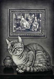 生田宏司「猫と西洋版画」銅版画 メゾチント 額装 サインあり 猫 ねこ