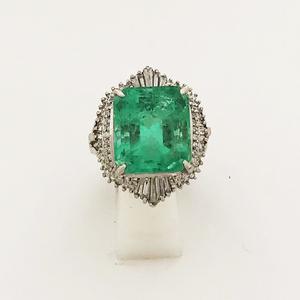 【中古】Pt900 エメラルド ダイヤ ファッションリング 指輪 E11.30ct D0.81ct 14号 レディース
