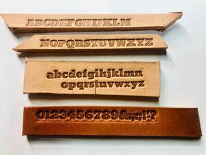 活字 4号(2) 太め アルファベット ヌメ革サービス 大小文字、数字のセット メタルスタンプ 母音追加で80個