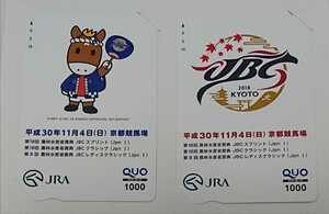 2018年(平成30年)京都競馬場開催記念JBCクオカード1000円券×2枚☆ターフィー☆JRA☆競馬☆非売品☆未使用品
