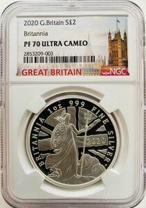 2020年 イギリス ブリタニア 2ポンド 銀貨 NGC PF70 ウルトラカメオ 最高鑑定品!