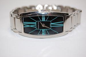 ティファニー TIFFANY&CO ジェメア GEMEA ブラックxブルー文字盤 SS クォーツ レディス腕時計 3か月保証付き