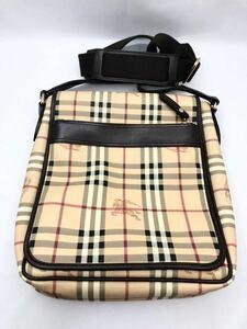 バーバリー ショルダーバッグ ダークブラウン×チェック PVC 極美品 カバン メンズ BURBERRY レディース メッセンジャーバッグ