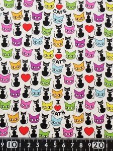 ★新品★USAコットン★カットクロス★カラフルな猫顔と黒猫柄★