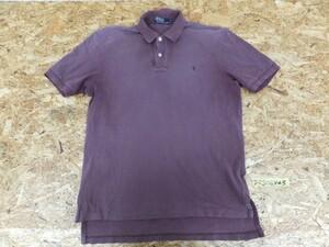 〈送料280円〉Polo by Ralph Lauren ラルフローレン メンズ ワンポイント刺繍 鹿の子 半袖ポロシャツ L 紫
