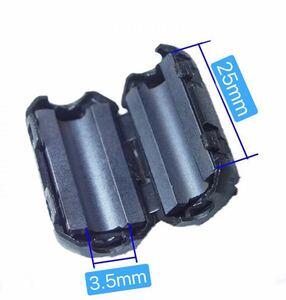 2120055★5個セット フェライトコアヒンジ式 内径3.5mm バルク品 電源線高周波ノイズが除去ノイズフィルター パッチンコアUF-35A