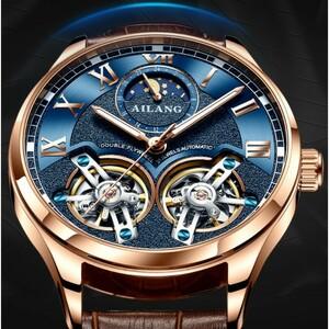 AILANG高品質ダブルトゥールビヨン男性用腕時計スイス機械式自動発光防水時計 デザインファッションスポーツ ムーンフェイズウォッチ328