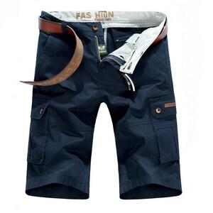 W31 ネイビー カーゴショート メンズ 大きいサイズ 無地 ハーフパンツ ショートパンツ 夏 短パン カジュアル ゴルフ