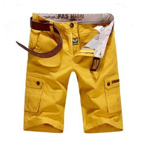 W31 イエロー カーゴショート メンズ 大きいサイズ 無地 ハーフパンツ ショートパンツ 夏 短パン カジュアル ゴルフ