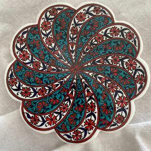 トルコ陶器製コースターIZNIK01タイル風コースタートリベットキッチン雑貨アクセサリートレイにも トルコ製