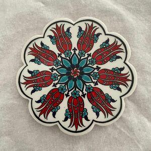 トルコタイル風コースタートルコ陶器製コースターIZNIK05キッチン雑貨アクセサリートレイにも