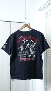 ★vansonバンソン×TOM&JERRYトムとジェリー コラボワッペン刺繍プリント加工半袖Tシャツ 古着ユーズド男性メンズM黒ブラックカートゥーン