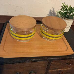 昭和レトロ 調味料入れ 3点セット 木製台セット ガラス アンティーク レア物 未使用 送料込み