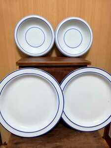 未使用 ビンテージ ストーンウェア たち吉 4枚 ディナープレート 昭和レトロ サークルライン 陶磁器 青 ブルー 白 橘吉 お皿