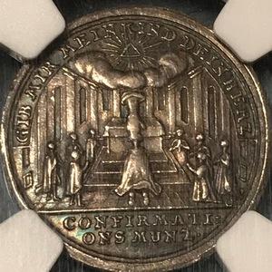 ★【超レア】(1750-80)ドイツ ニュルンベルク ダカット銀打試鋳貨 NGC AU58