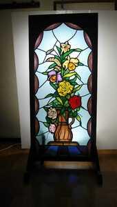 絵付け 花園A1 ステンドグラスパネル 約高さ122cm幅53cm