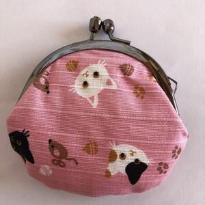 がま口 小銭入 財布 アクセサリー入れ 薬入れ 猫 ネコとネズミ和布日和 がま口ポーチ ピンク系
