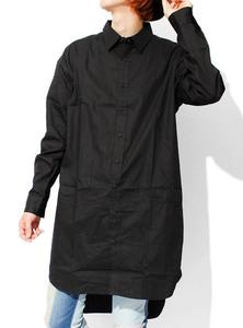 【新品】 F ブラック ビッグシャツ メンズ スーパー ロング 長袖 デザイナーズ モノトーン ドロップショルダー 無地 シャツ