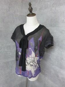 ディーゼル DIESEL 正規品 和プリントのボウタイブラウス 黒×紫 花柄 Mサイズ レディース 女性 ブラック×パープル ジョーゼット ボータイ
