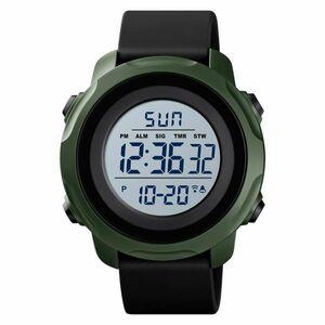 デジタルメンズウォッチ防水ミリタリースポーツ腕時計カウントダウンクロノグラフズ Black green