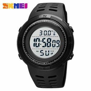 アウトドアスポーツウォッチメンズファッション50M防水ミリタリーデジタル腕時計体温 black white