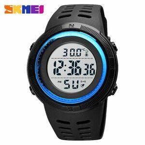 アウトドアスポーツウォッチメンズファッション50M防水ミリタリーデジタル腕時計体温 blue white