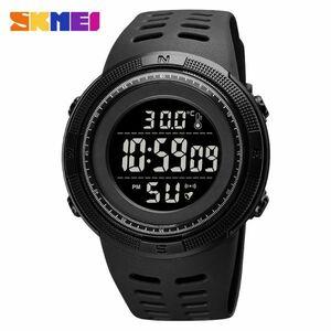 アウトドアスポーツウォッチメンズファッション50M防水ミリタリーデジタル腕時計体温 all black