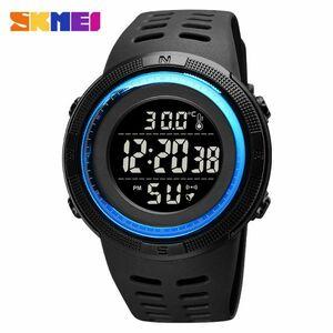 アウトドアスポーツウォッチメンズファッション50M防水ミリタリーデジタル腕時計体温 blue black
