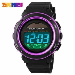 ソーラーエネルギーメンズエレクトロニックスポーツウォッチアウトドアミリタリーLEDウォッチデジタルクォーツ腕時計 purple