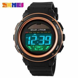 ソーラーエネルギーメンズエレクトロニックスポーツウォッチアウトドアミリタリーLEDウォッチデジタルクォーツ腕時計 gold