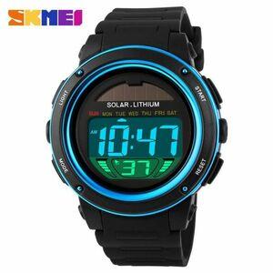 ソーラーエネルギーメンズエレクトロニックスポーツウォッチアウトドアミリタリーLEDウォッチデジタルクォーツ腕時計 blue