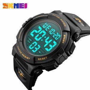 スポーツウォッチメンズアウトドアファッションデジタル多機能LED腕時計 gold